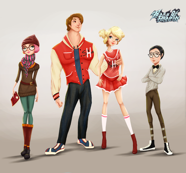 High School Characters Design by TearsofDragon