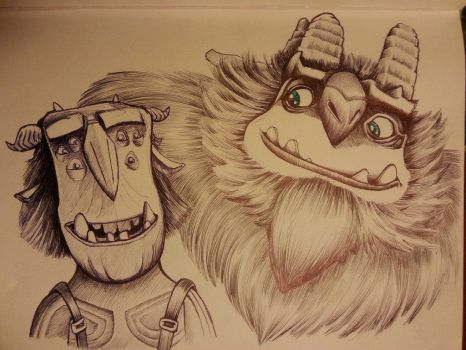 Blinky and Aaarrrgghh from Trollhunters ballpoint by DoctorFantastic