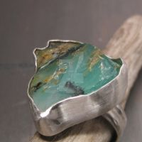 Raw green Opal ring by Jealousydesign