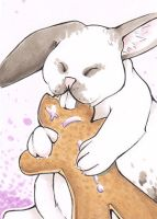 ACEO 6. Dezember: Gingerbread Bunny by R-a-t-t-a-t-a