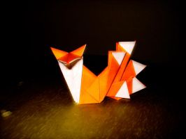 origami five tailed kitsune by afrokenshi