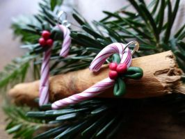 Candy Cane Earrings by cherrybasket