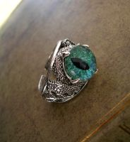 Double Snake Slytherin Inspired Ring - Green Eye by LadyPirotessa