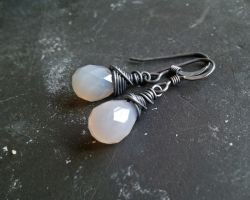 Oxidized Grey Onyx Earrings by QuintessentialArts