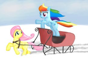 Dashie in the snow, on a one-horse open sleigh by TenSecondsFlat