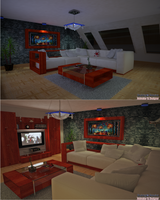 Living Room 02 at night by Skyknightb