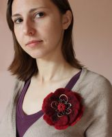 Felted brooch 'Briar Rose' by WhiteSquaw