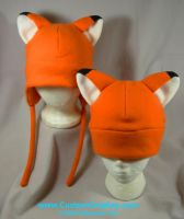 Orange fox hats by The-Cute-Storm