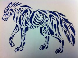 Tribal wolf - pen sketch by Sireynia