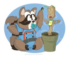 Baby Rocket and Groot by geogant
