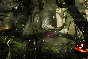 Angel sleeping in forest by annemaria48