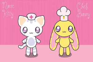 Nurse Kitty and Chef Bunny by cosmo2389