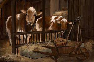 Cows in the barn by skycladstrega