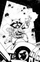 Rocket Raccoon inks by scottygod