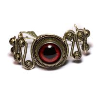 Steampunk Bracelet Red Eye by CatherinetteRings