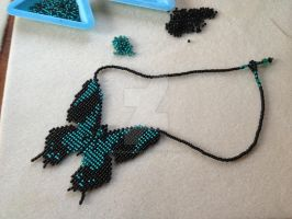 Butterfly Necklace, Black and Teal by WhiteMagicPriestess