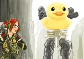 Speedpaint: A nerd girl and a bipedal tank by lazyseal8