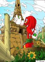 Knuckles in the Ruin colored by RadiantRagnarok