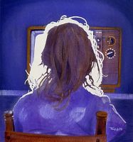 Girl Watching TV by hank1