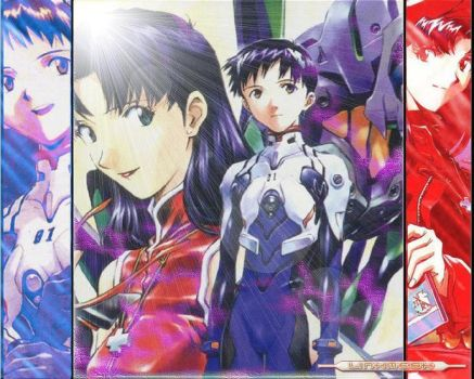 Shinji and Misato plus EVA 01 by Noirtwilight