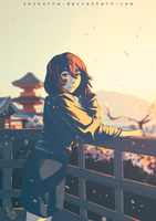 Sunset with Cherry Blossoms by SolKorra