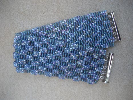 blue checkered cuff bracelet by Autumn-beads