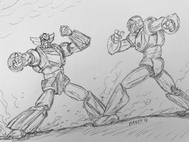 Goldorak / Grendizer Vs Gattaiger  by maxpa27