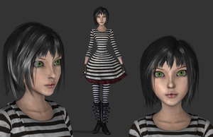 AliceStripedDress, wip 1 by tombraider4ever