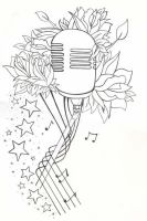 Mic tattoo flash line drawing by SpookyZombie