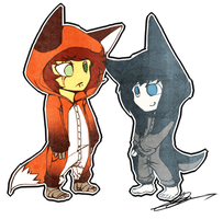 Fox and Dog by 13r-e