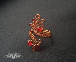 Adjustable wire ring, Copper ring by SashaStout