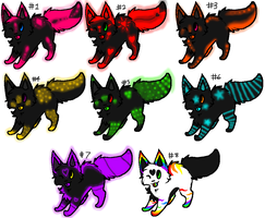 Glowing Neon/Rainbow Cat Adoptables (Two left!) by MayasAdopts