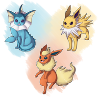 First Gen Eeveelutions by Quarbie