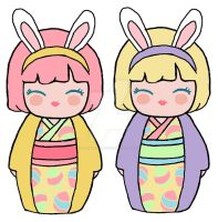 Kokeshi Easter Bunnies by kaoshoneybun