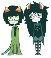 Nepeta Leijon and Jade Harley by nekozneko