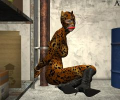 Cheetah handcuffed in warehous by Antileaf-Artworks