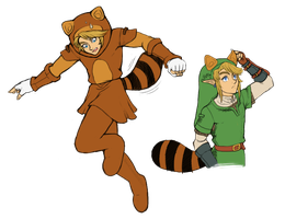Super Leaf: Raccoon / Tanooki Link (SSB/TP) by SiscoCentral1915