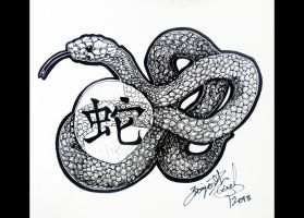 Year of the Snake 2013 - Line Art by cherry12
