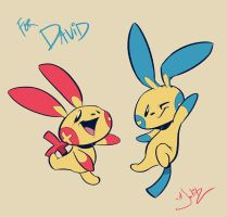 Plusle and Minun by dodgyrommer