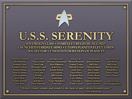 USS Serenity Plaque by LordTrekie