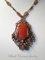 Fire Agate and Copper Art Nouveau Pendant II by blackcurrantjewelry