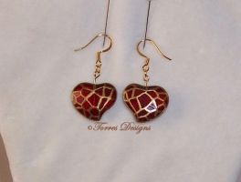 Heart Container Earrings Zelda TP 14kHooks OOAK #1 by TorresDesigns