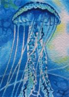 Blue Jellyfish by waughtercolors
