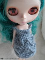 Hand knit lace dress for Blythe by kivrin82