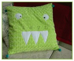 Fuzzy Monster Pillow by Straynj3