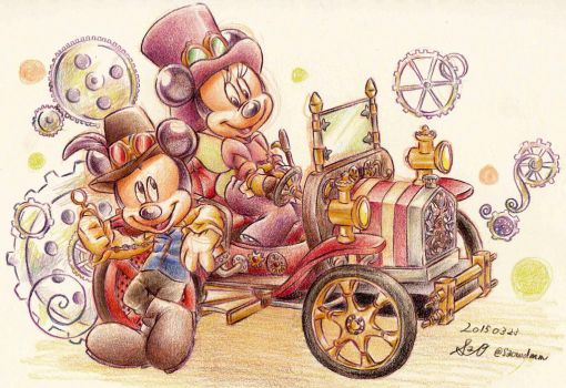 steam punk Mickey Minnie by okeleton