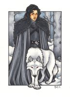 Jon Snow and Ghost by BlueUndine