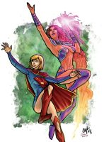 Supergirl and Starfire Colored by thecreatorhd