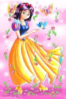 Snow White and the Blossoms by Princess-Peachie