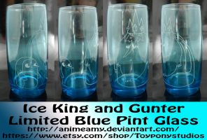 Ice King and Gunter Limited Blue Pint Glass by AnimeAmy